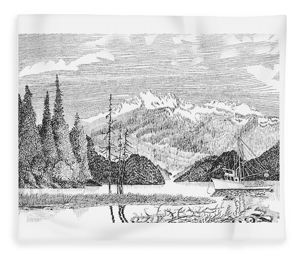 Framed Prints Of Fishing Boats In Alaska Nautical Harbor Bay Boats Fleece Blanket featuring the drawing Snug Harbor Alaska Anchorage by Jack Pumphrey