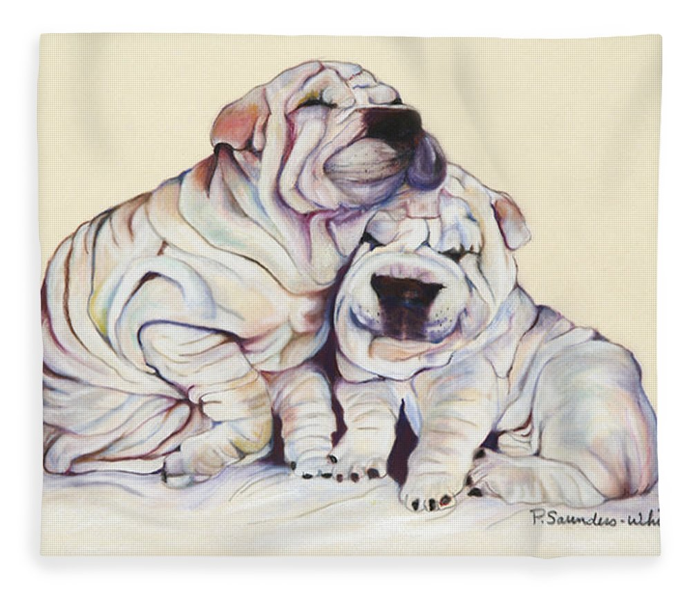 Dog Painting Fleece Blanket featuring the pastel Snuggles by Pat Saunders-White