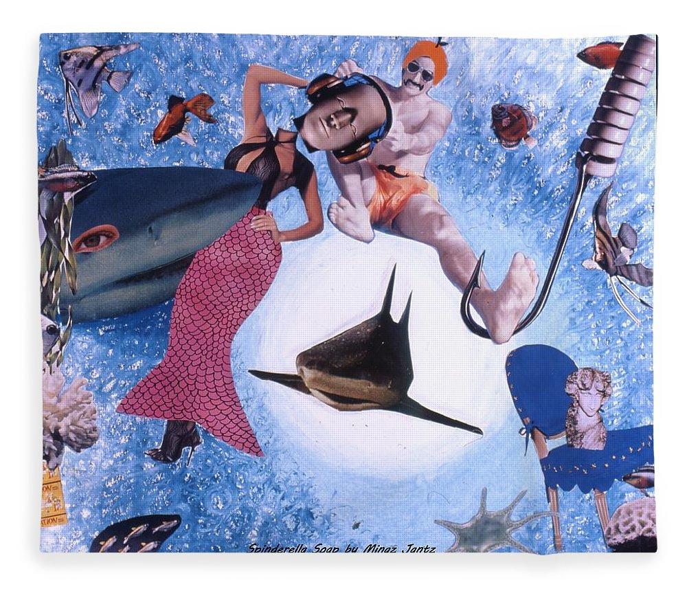 Shark Fleece Blanket featuring the drawing Soap Scene #26 Operation Rescue by Minaz Jantz