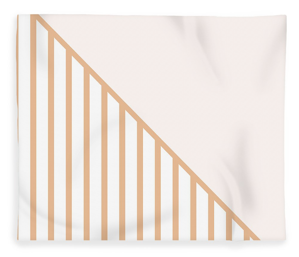 Pink Fleece Blanket featuring the digital art Soft Blush And Coral Stripe Triangles by Linda Woods