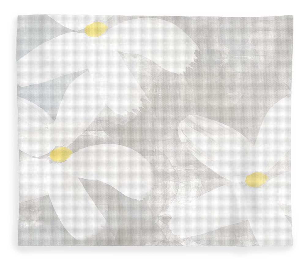 Flowers Fleece Blanket featuring the painting Soft White Flowers by Linda Woods
