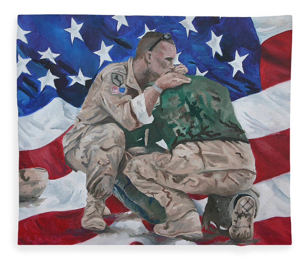 Soldiers Fleece Blanket featuring the painting Soldiers by Travis Day