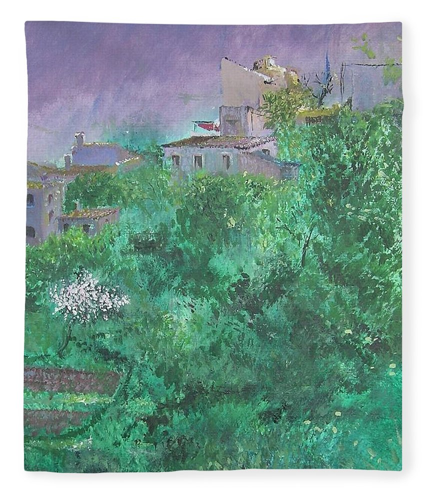 Impressionist Fleece Blanket featuring the painting Solitary Almond Tree In Blossom Mallorcan Valley by Lizzy Forrester