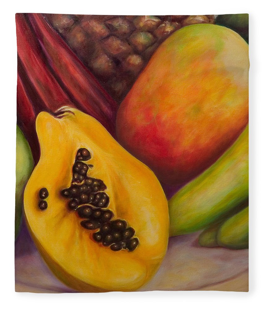 Tropical Fruit Still Life: Mangoes Fleece Blanket featuring the painting Solo by Shannon Grissom