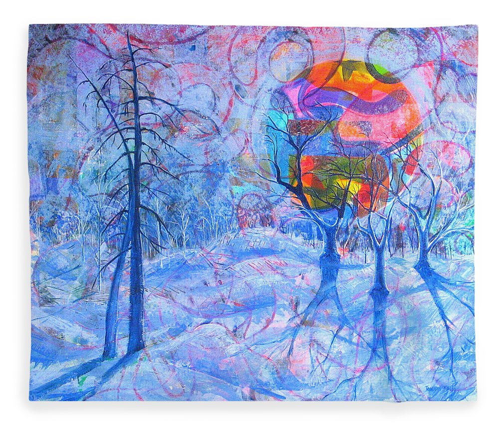 Winter Fleece Blanket featuring the painting Solstice by Rollin Kocsis