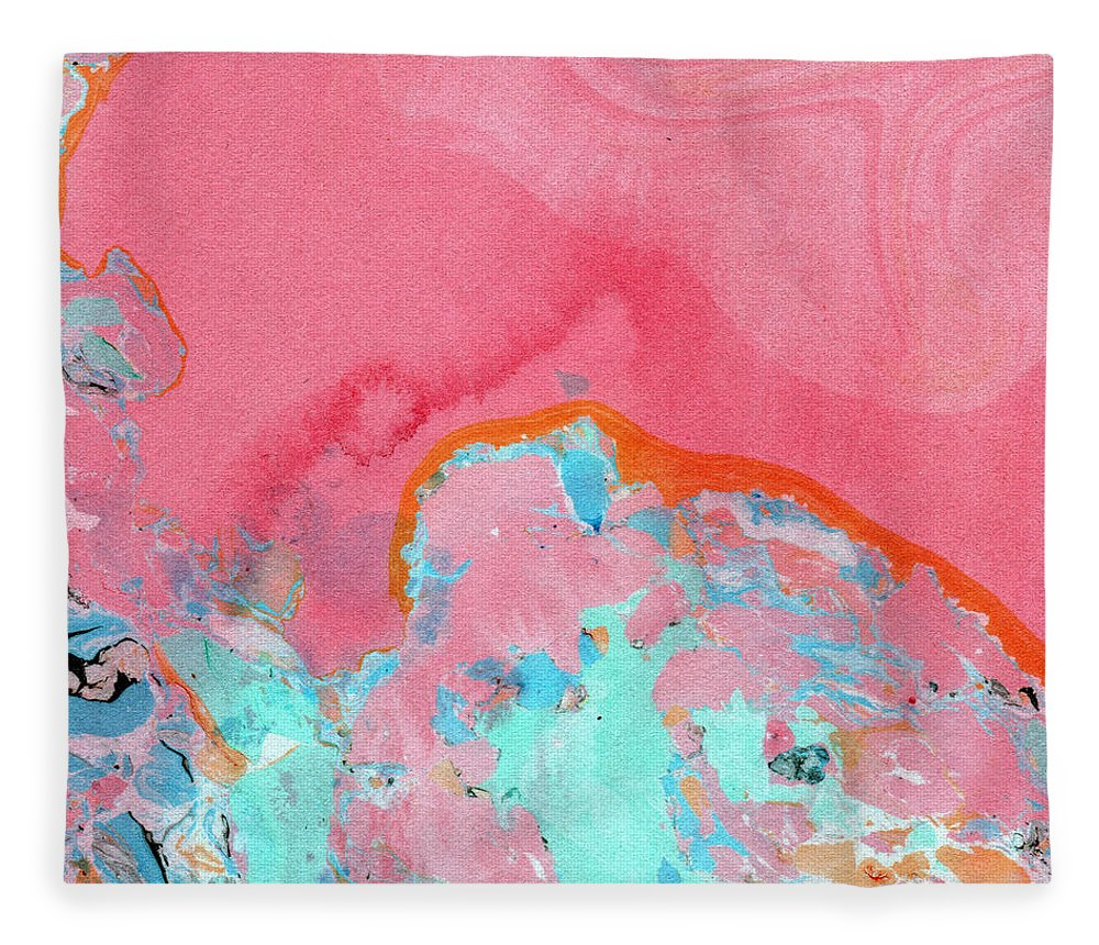 Abstract Fleece Blanket featuring the painting Somewhere New- Abstract Art by Linda Woods by Linda Woods