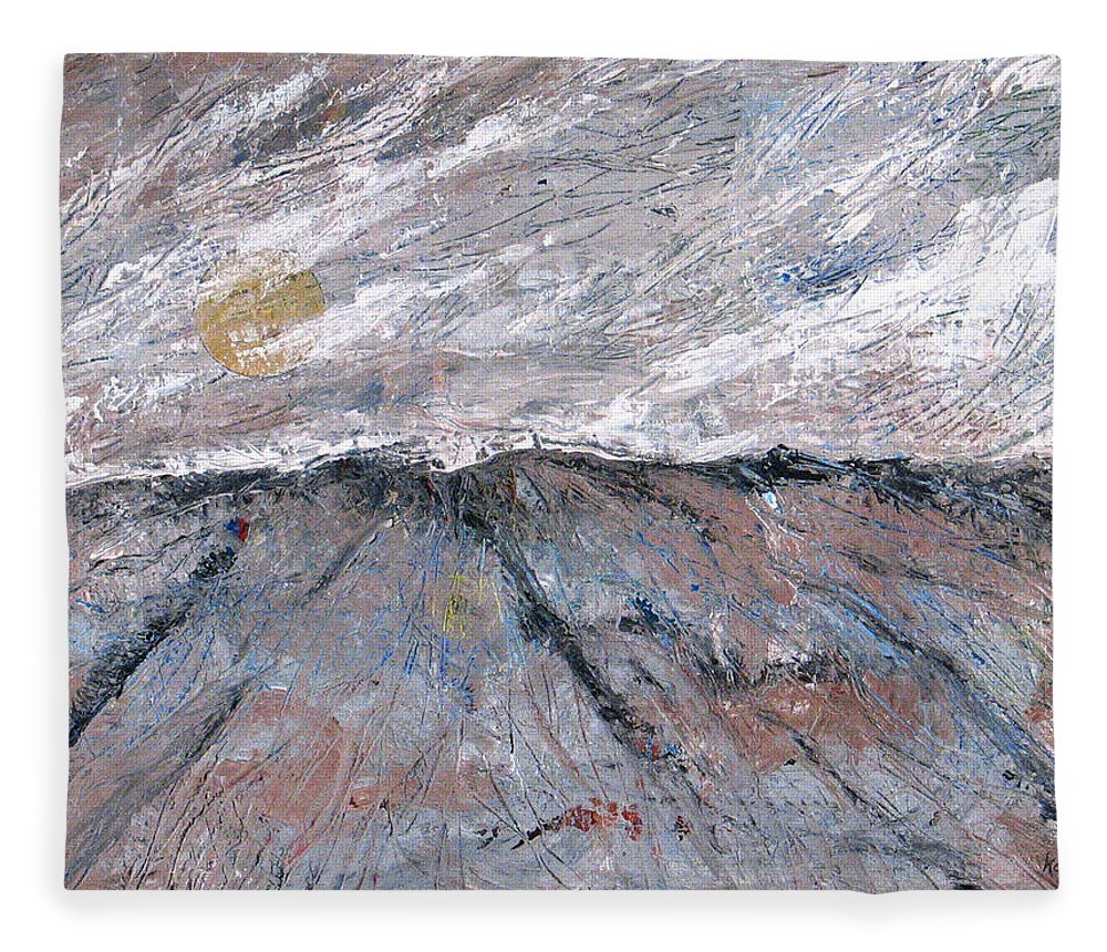 Mountains Fleece Blanket featuring the painting Somewhere Higher by Rollin Kocsis