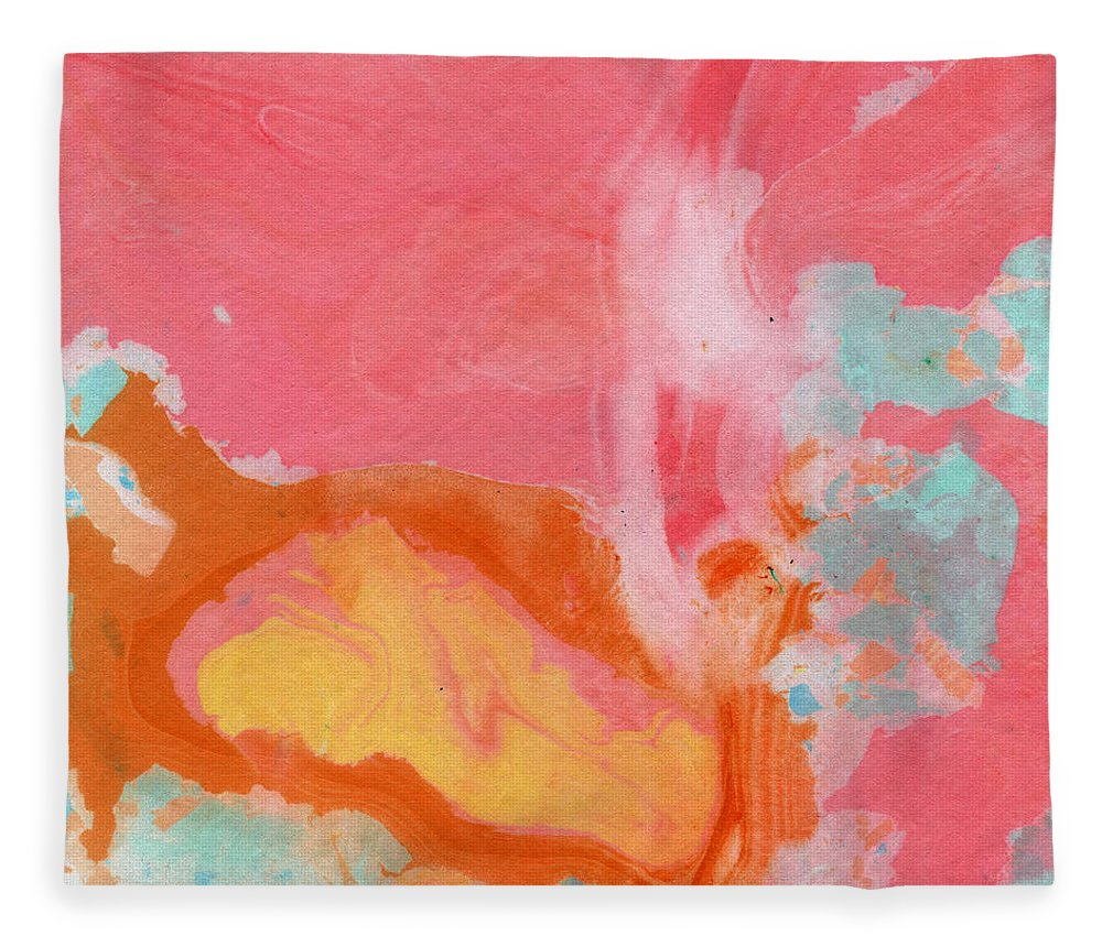 Abstract Fleece Blanket featuring the painting Somewhere New 2- Abstract Art by Linda Woods by Linda Woods