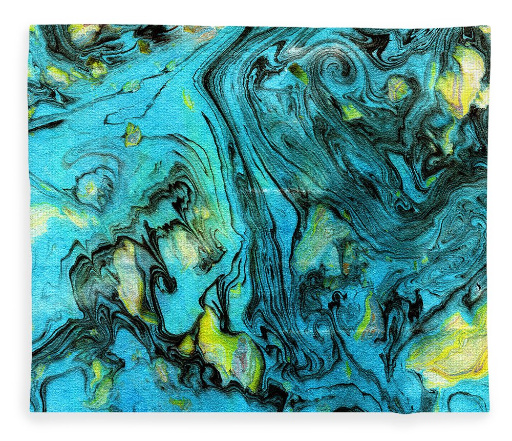 Abstract Fleece Blanket featuring the painting Somewhere New 6- Art By Linda Woods by Linda Woods