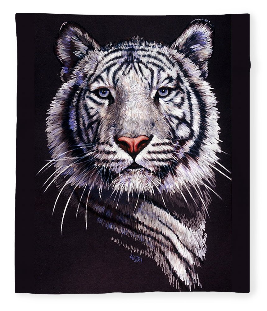 Tiger Fleece Blanket featuring the drawing Sorcerer by Barbara Keith