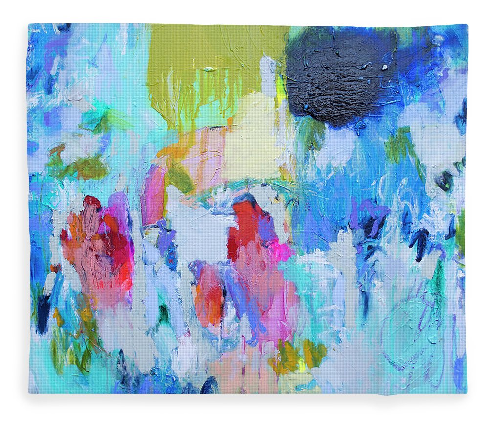 Abstract Fleece Blanket featuring the painting Soul Feeling by Claire Desjardins