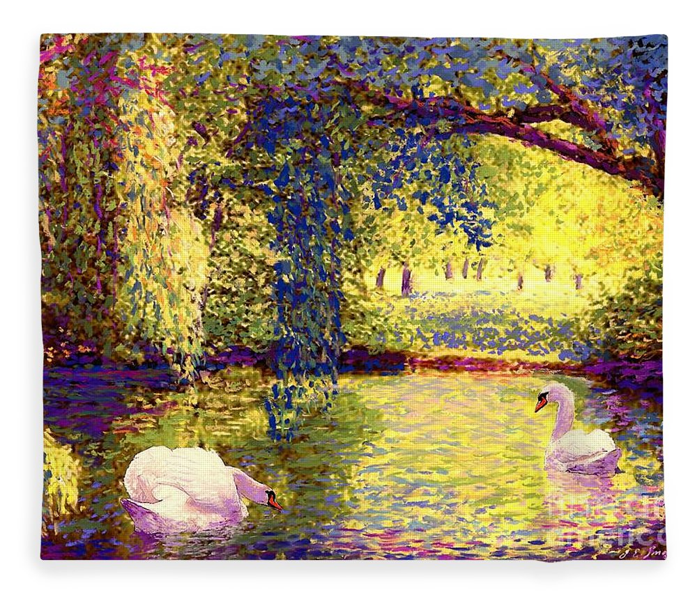 Landscape Fleece Blanket featuring the painting Swans, Soul Mates by Jane Small
