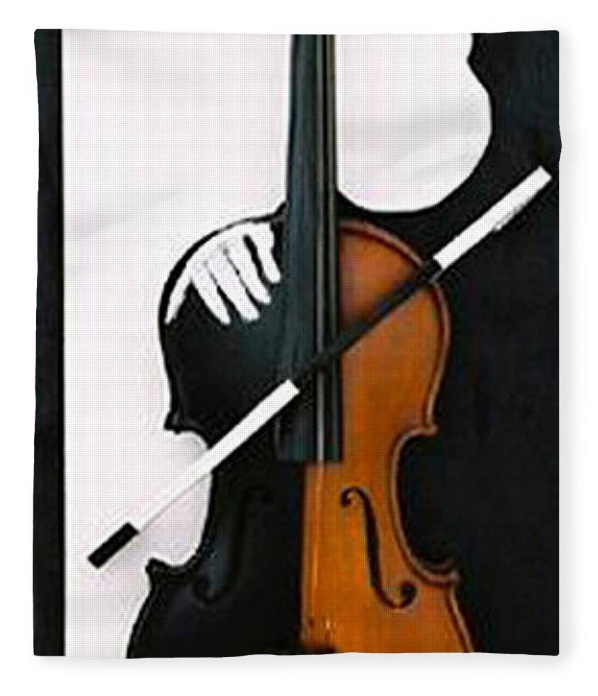 Violin Fleece Blanket featuring the sculpture Soul Of Music by Steve Karol