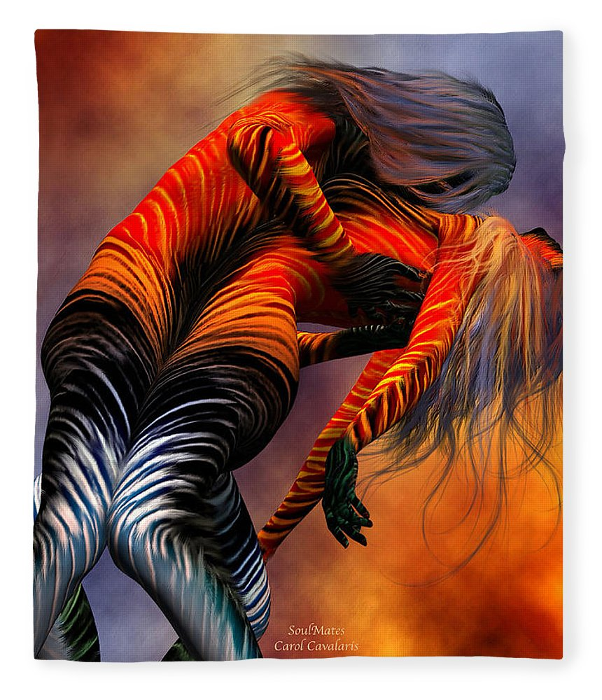 Soulmate Fleece Blanket featuring the mixed media Soulmates by Carol Cavalaris