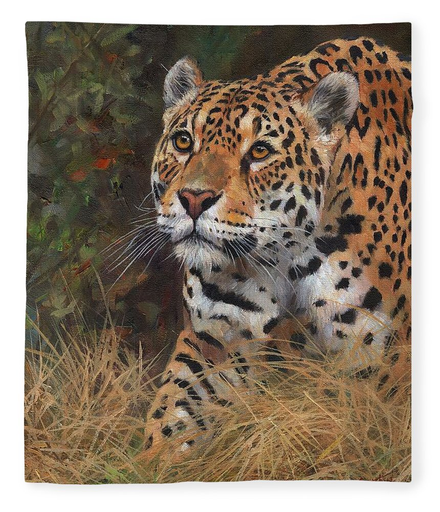 Jaguar Fleece Blanket Featuring The Painting South American Jaguar Big Cat  By David Stribbling