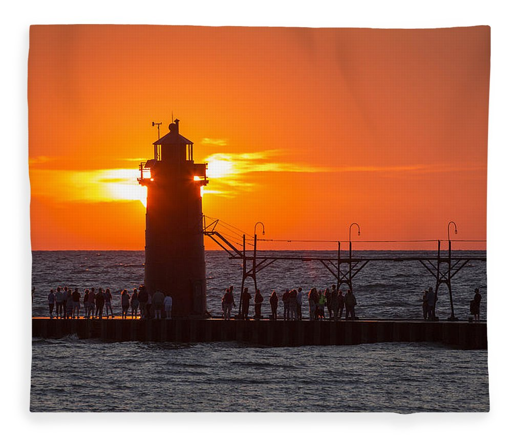3scape Fleece Blanket featuring the photograph South Haven Michigan Sunset by Adam Romanowicz