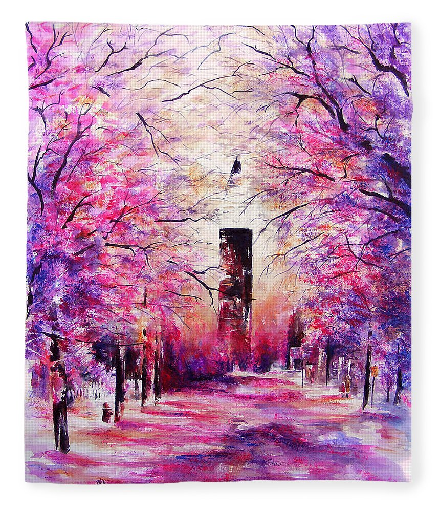 Landscape Fleece Blanket featuring the painting South Market on Ice by William Russell Nowicki