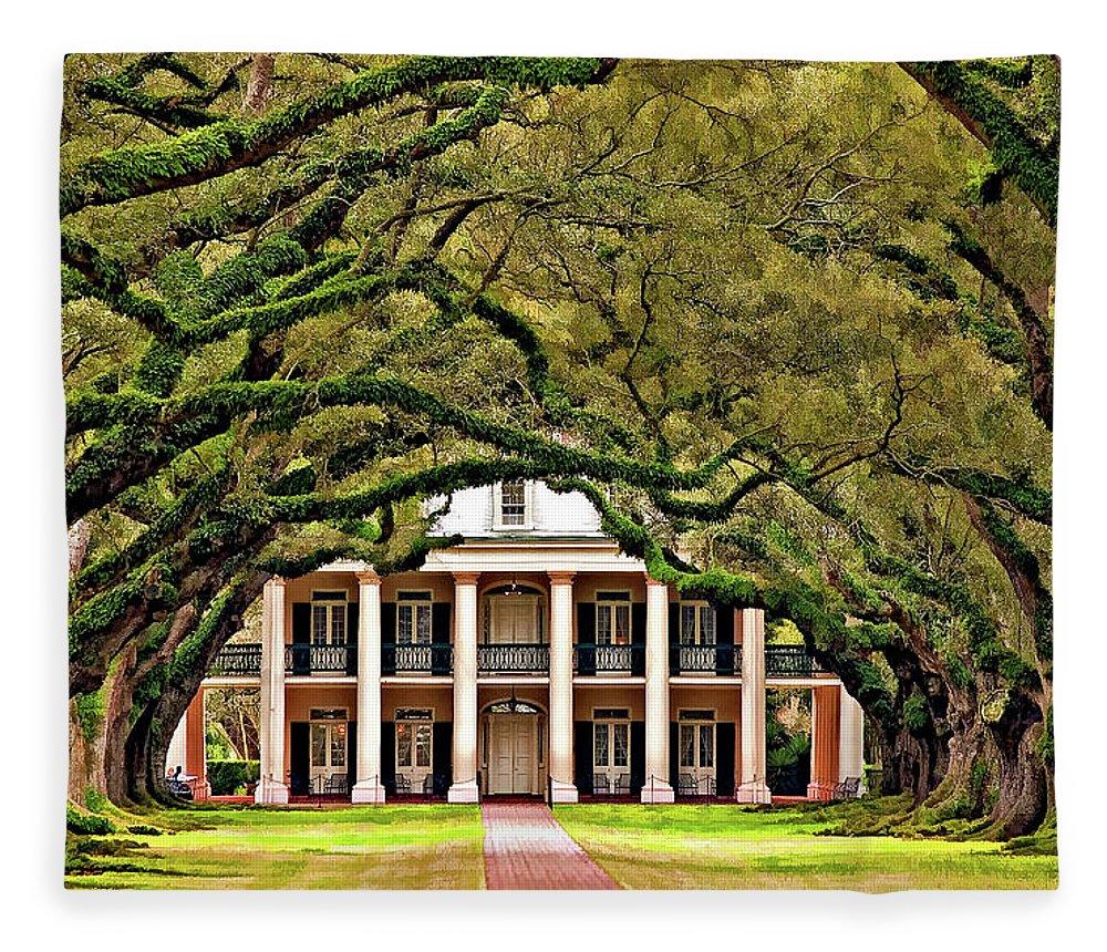 Oak Alley Plantation Fleece Blanket featuring the photograph Southern Class Painted by Steve Harrington