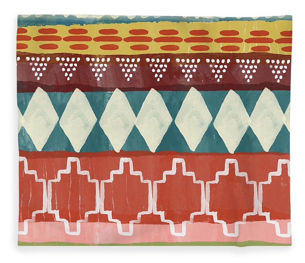 Southwest Fleece Blanket featuring the mixed media Southwestern 1- Art By Linda Woods by Linda Woods