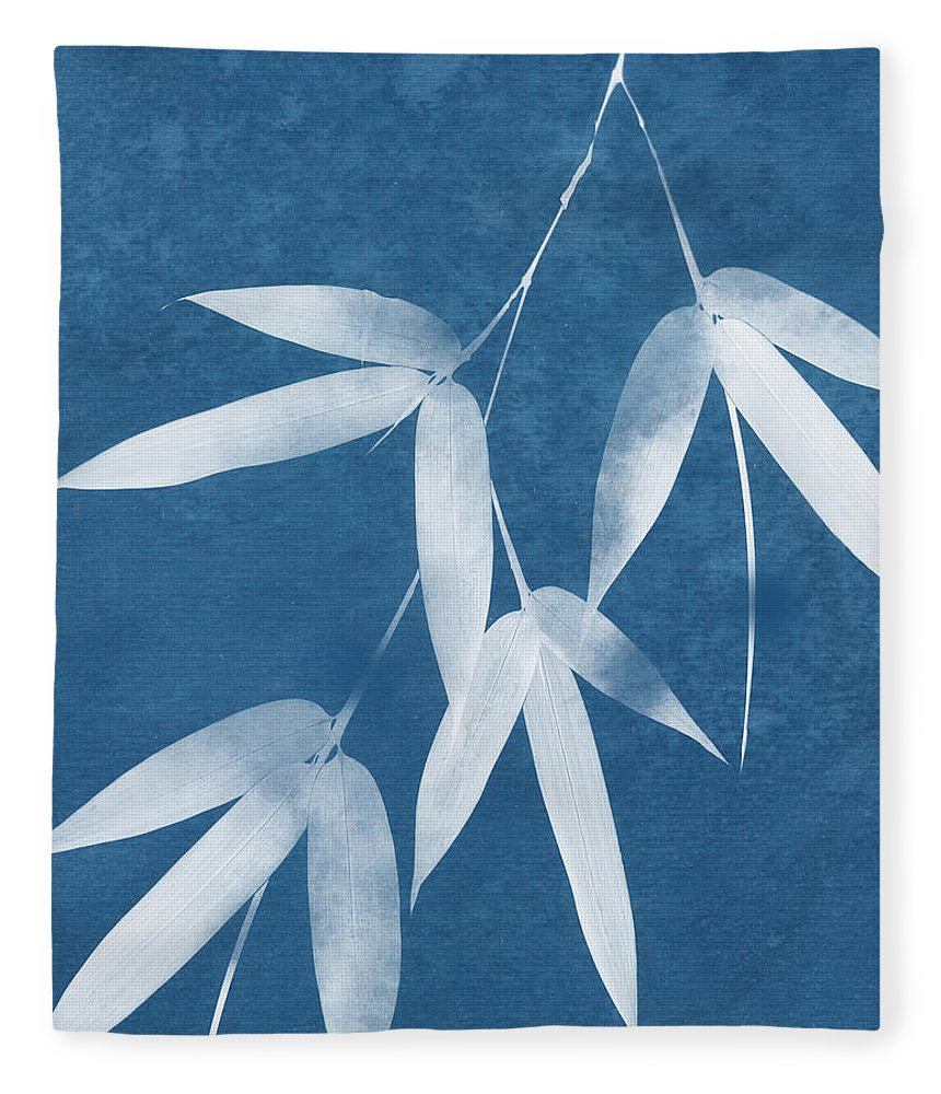 Bamboo Fleece Blanket featuring the mixed media Spa Bamboo 1-art By Linda Woods by Linda Woods