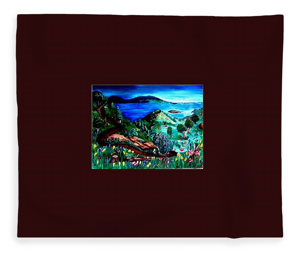 Landscape Fleece Blanket featuring the painting Special Land by Andrew Johnson