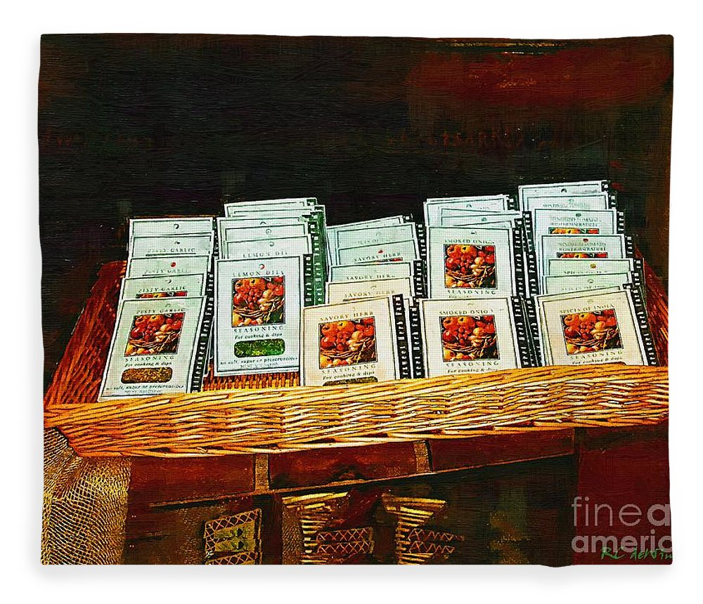 Antiques Fleece Blanket featuring the painting Spice Island by RC DeWinter