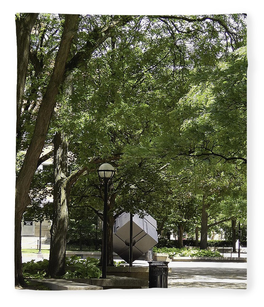 Ann Arbor Fleece Blanket featuring the photograph Spinning Cube On Campus by Phil Perkins