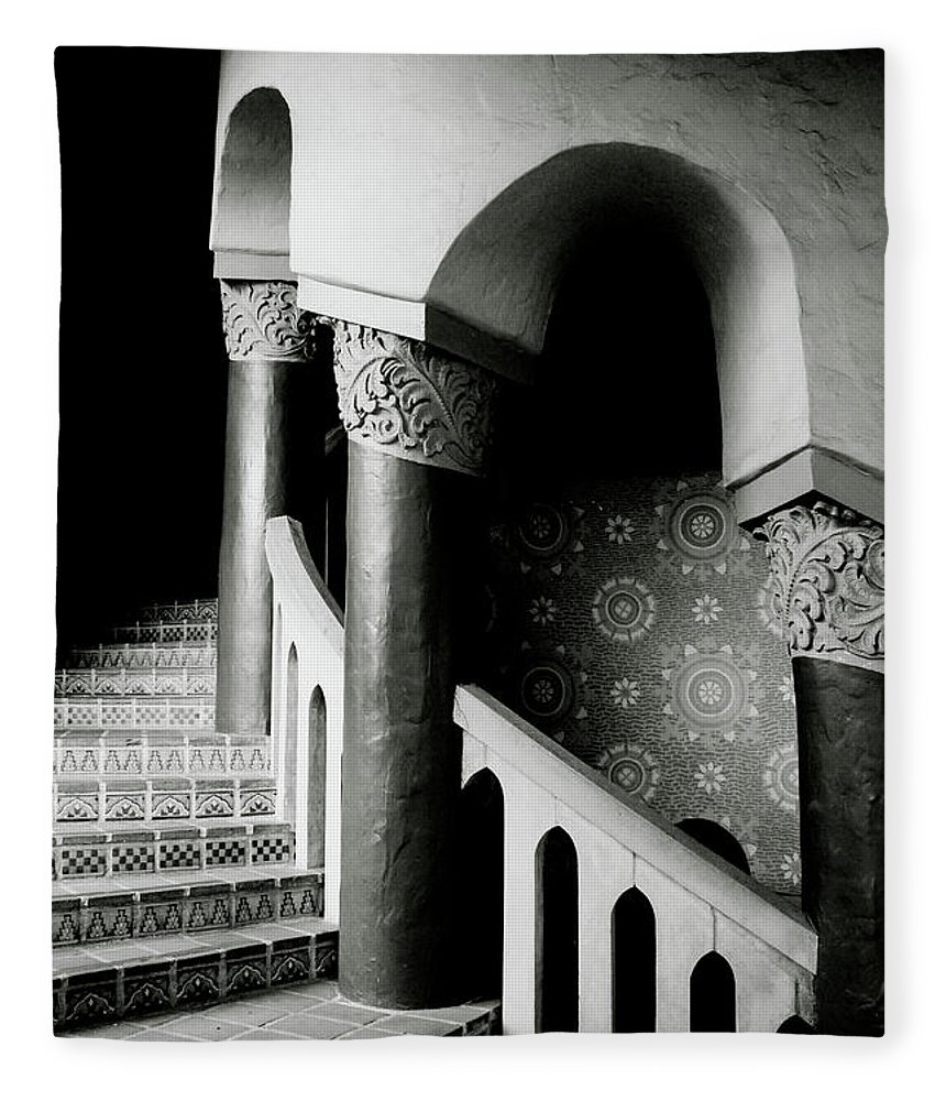 Stairs Fleece Blanket featuring the mixed media Spiral Stairs- Black And White Photo By Linda Woods by Linda Woods
