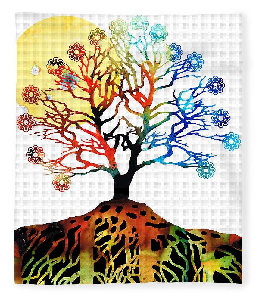 Tree Fleece Blanket featuring the painting Spiritual Art - Tree Of Life by Sharon Cummings