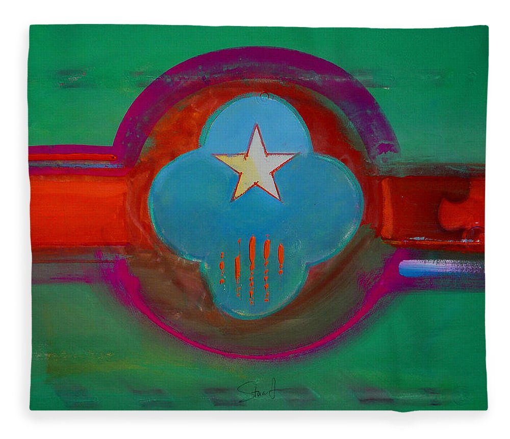Star Fleece Blanket featuring the painting Spiritual Green by Charles Stuart