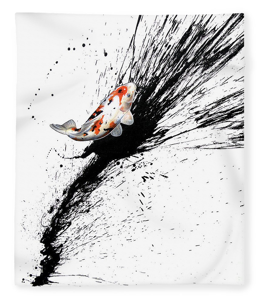 Koi Fleece Blanket featuring the painting Splash 3 by Sandi Baker