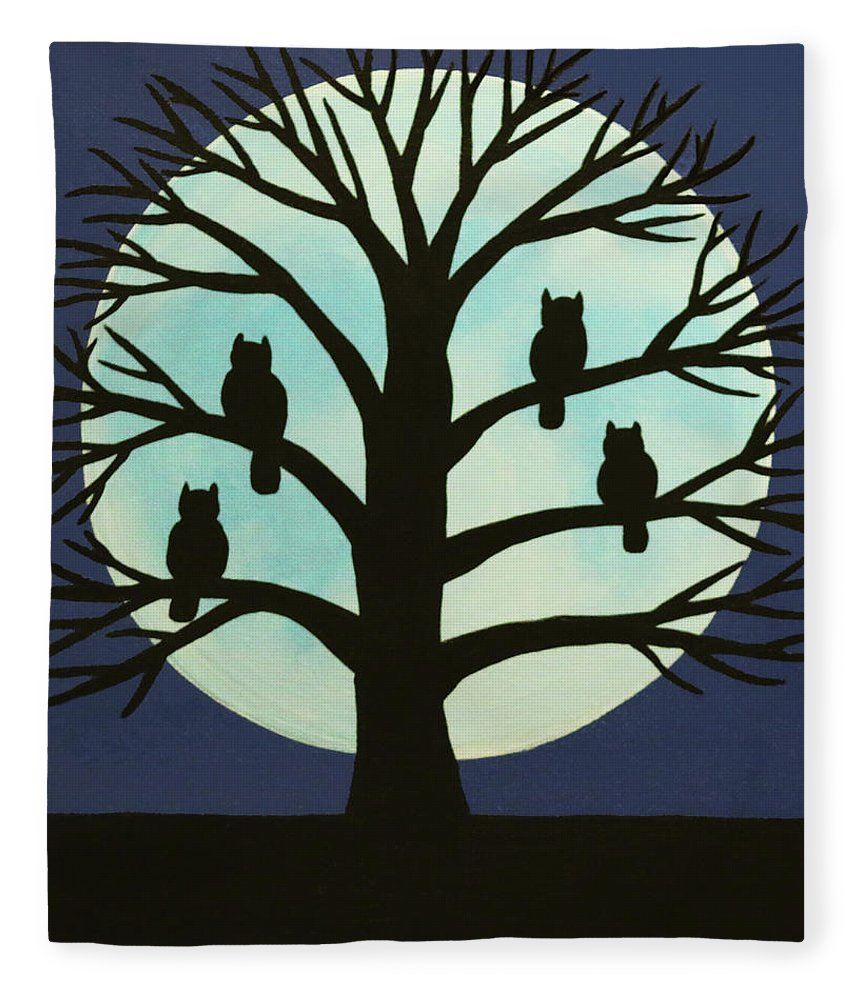 Spooky Owl Tree Fleece Blanket