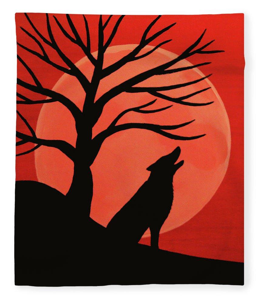 Spooky Wolf Tree Fleece Blanket