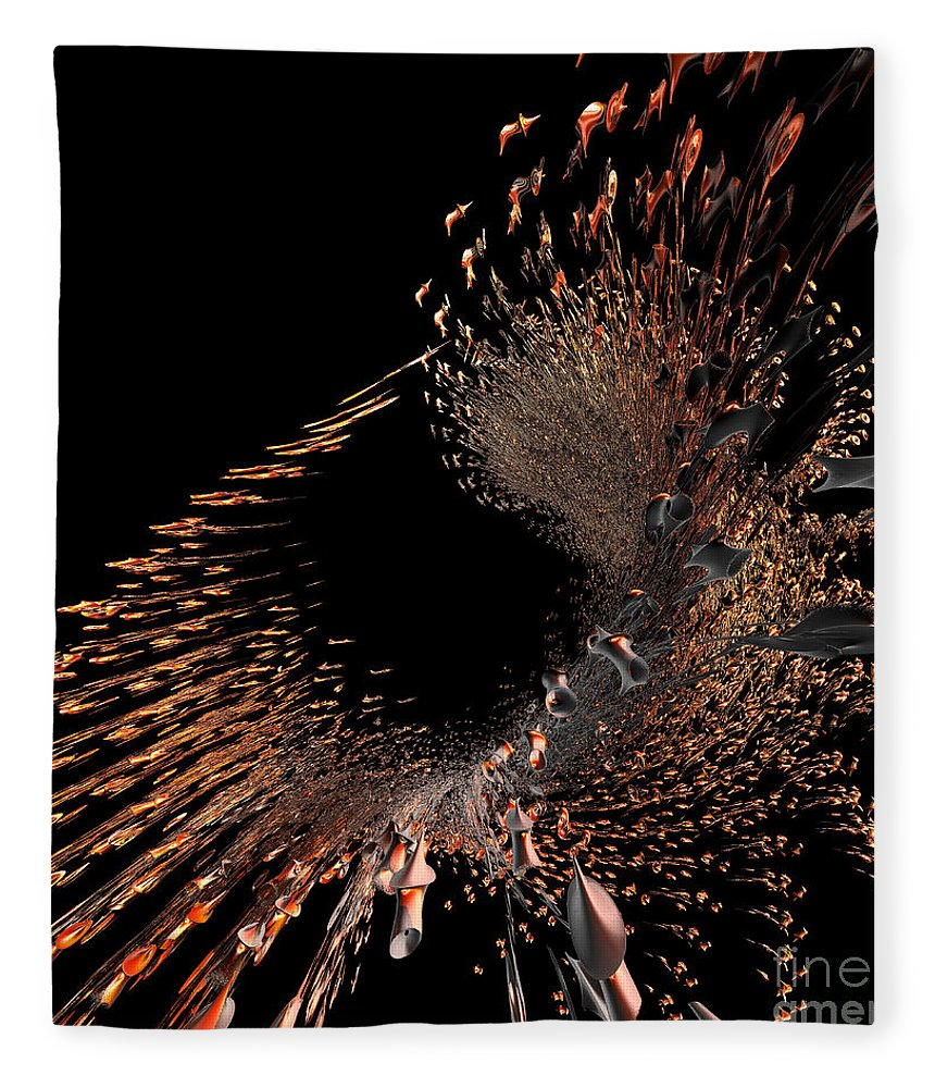 Incendia Fleece Blanket featuring the digital art Spray Of Gold by Deborah Benoit