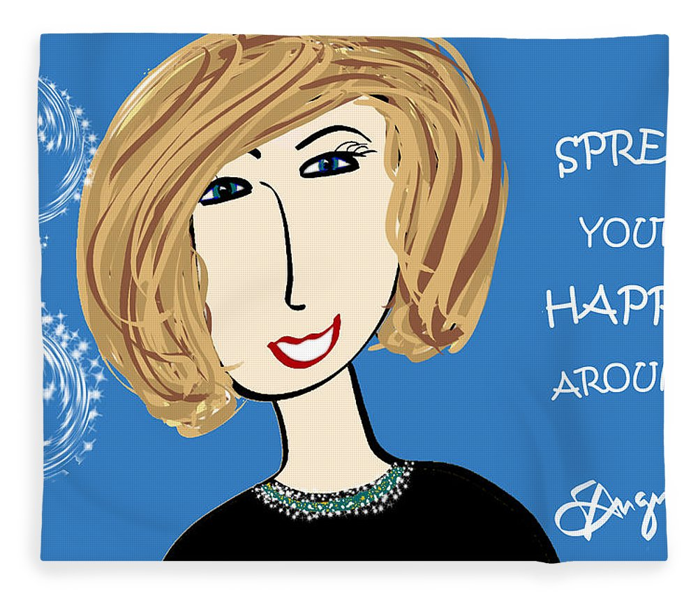 Inspire Fleece Blanket featuring the drawing Spread Your Happy Around by Sharon Augustin
