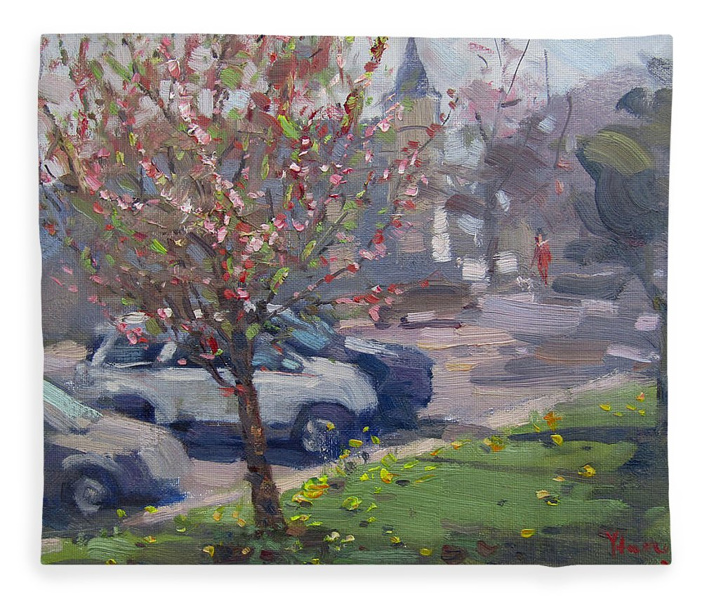 Spring Fleece Blanket featuring the painting Spring At Main St North Tonawanda by Ylli Haruni