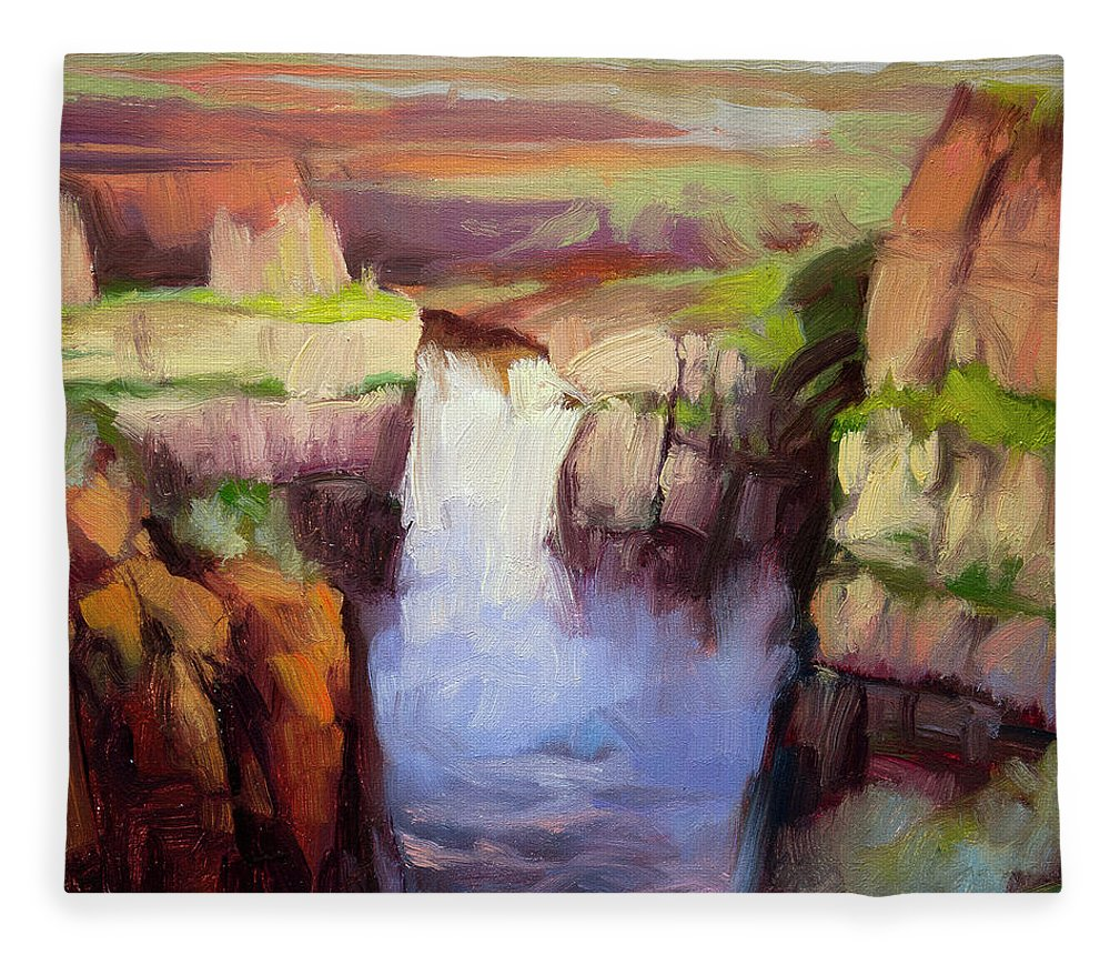 Waterfall Fleece Blanket featuring the painting Spring at Palouse Falls by Steve Henderson