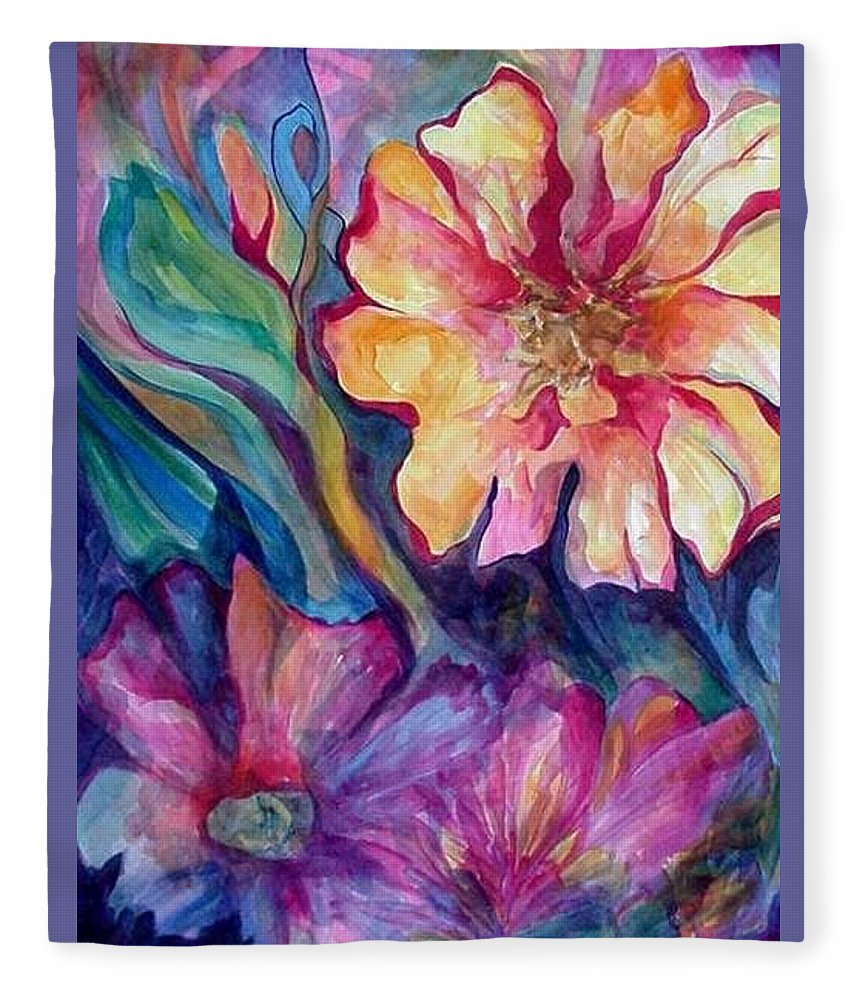 Spring Fleece Blanket featuring the painting Spring In My heart by Carolyn LeGrand