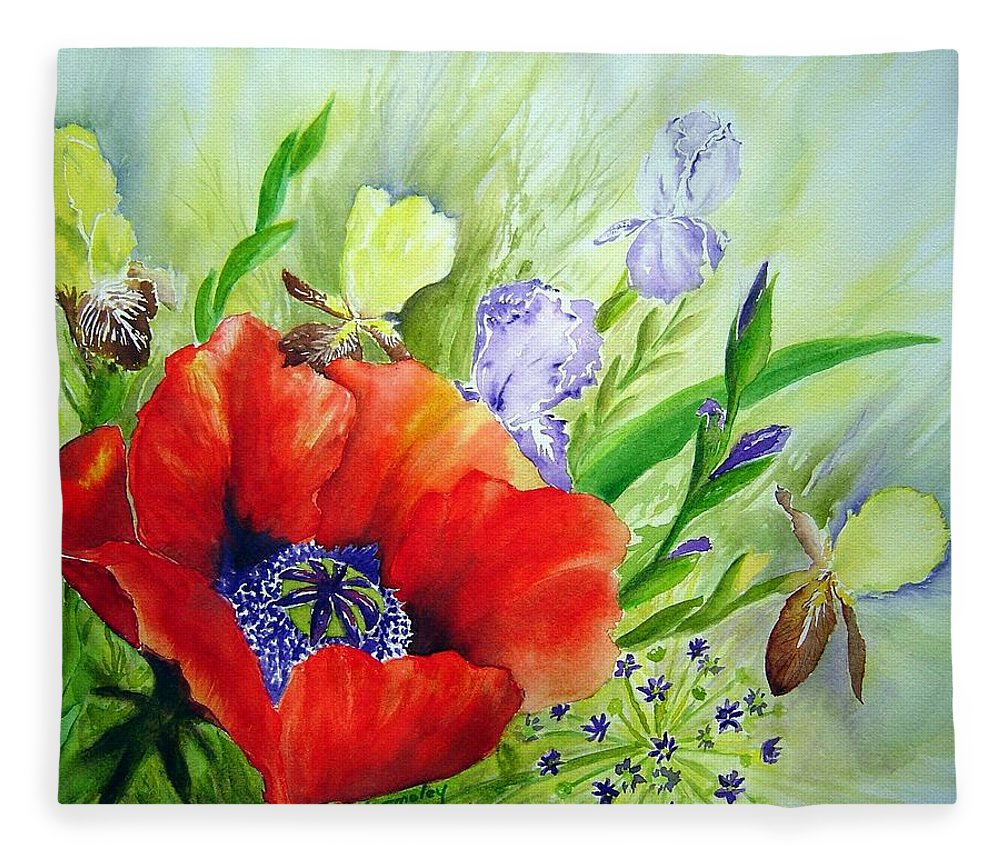 Poppy Iris Floral Painting Fleece Blanket featuring the painting Spring Splendor by Joanne Smoley