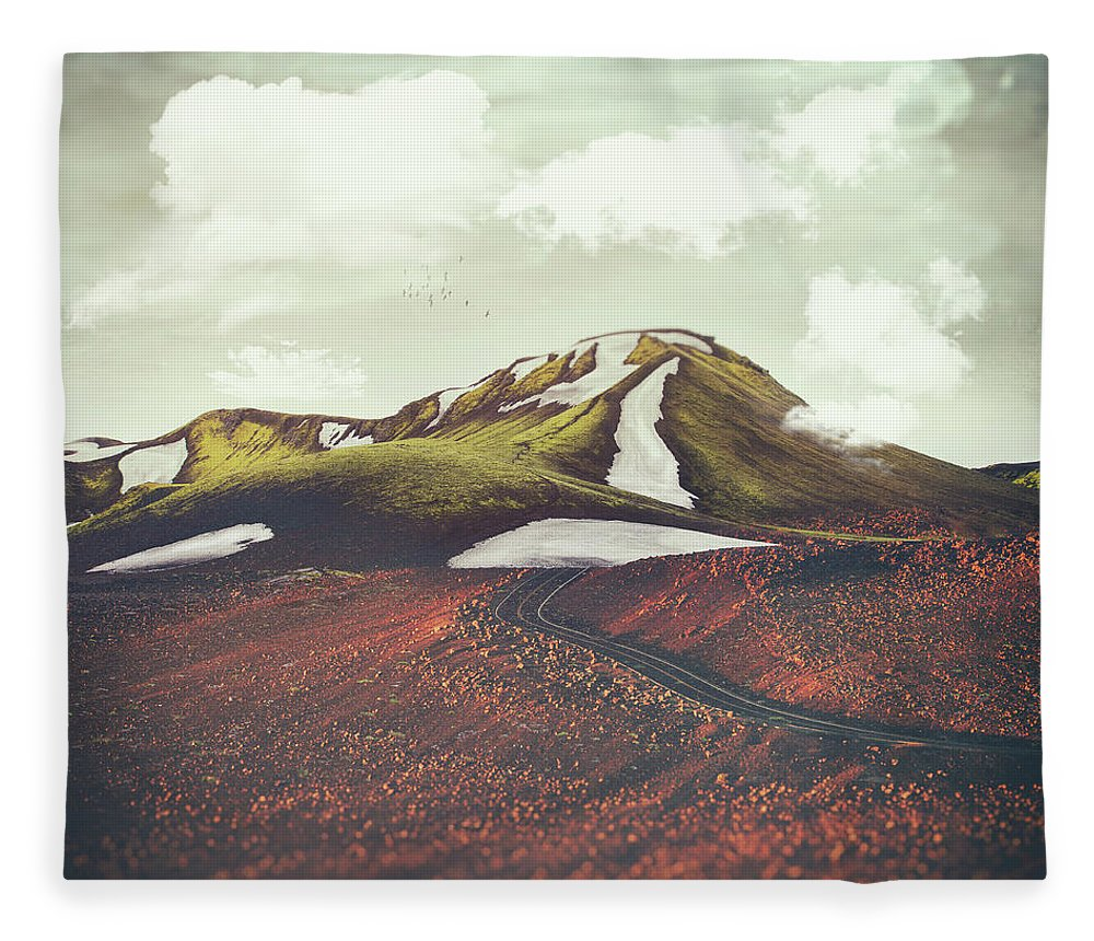 Landscape Spring Winter Dreamscape Hills Mountains Fleece Blanket featuring the digital art Spring Thaw by Katherine Smit