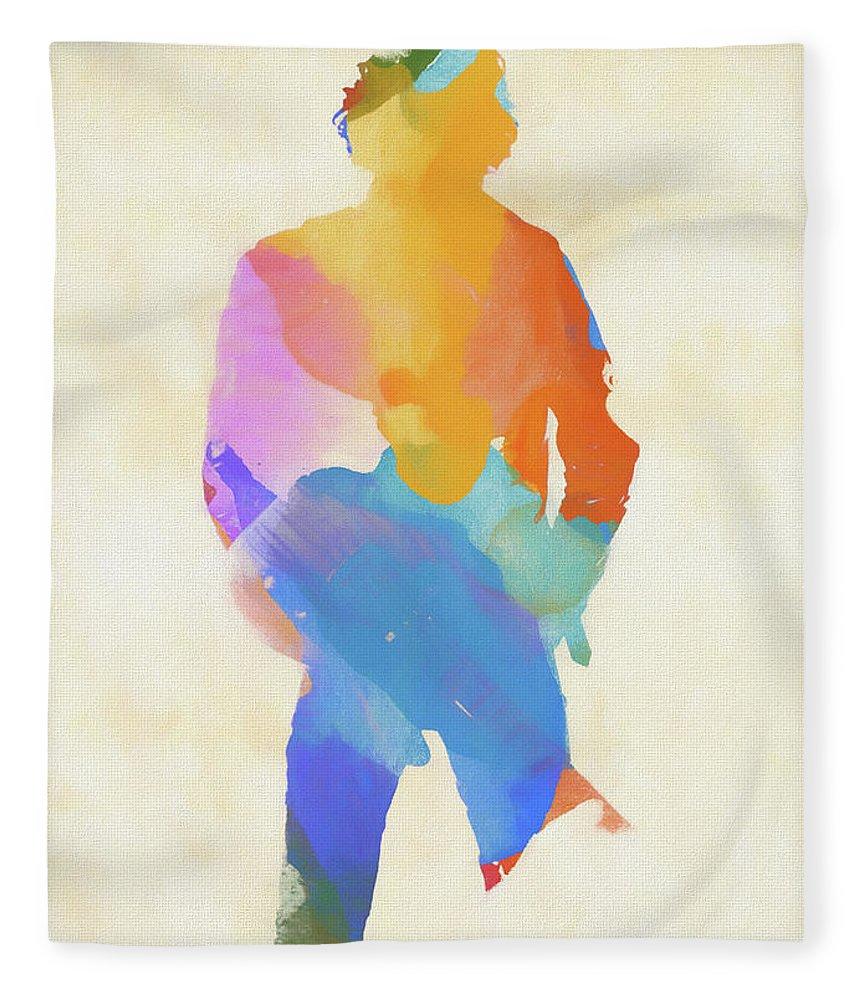 Springsteen From Behind Fleece Blanket featuring the painting Springsteen From Behind by Dan Sproul
