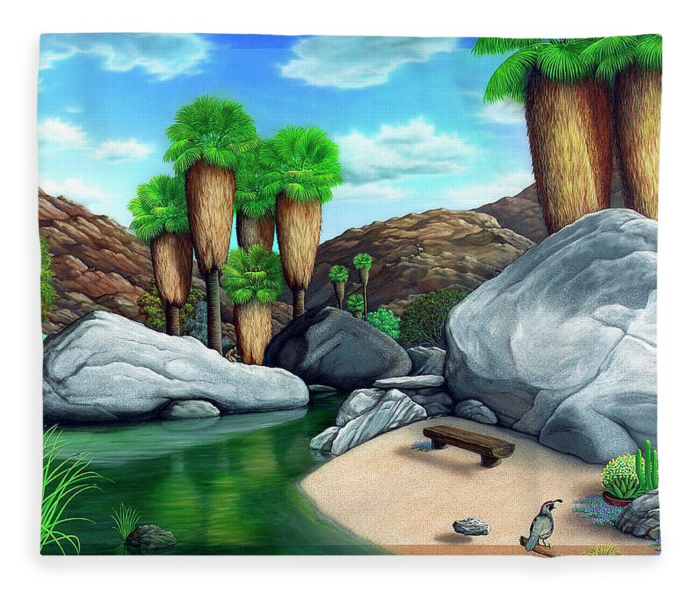Landscape Fleece Blanket featuring the painting Springtime in the Canyons by Snake Jagger