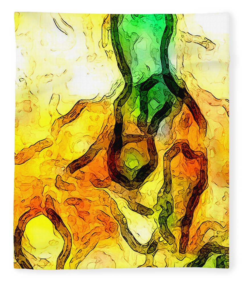 Abstract Fleece Blanket featuring the digital art Sprout About by Linda Mears