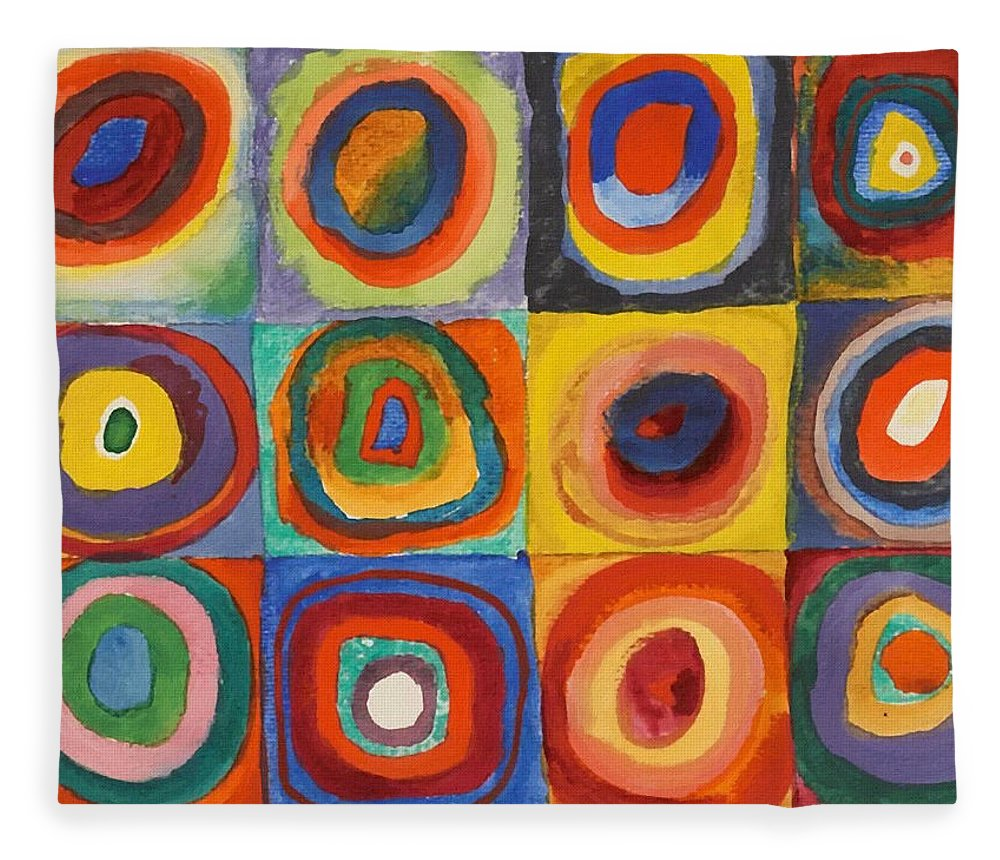 Squares With Concentric Circles Fleece Blanket For Sale By