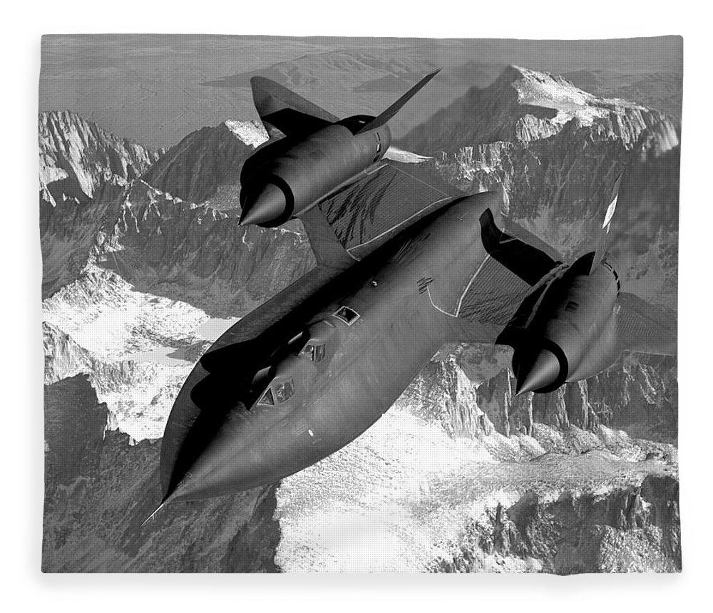Aviation Fleece Blanket featuring the photograph Sr-71 Blackbird Flying by War Is Hell Store