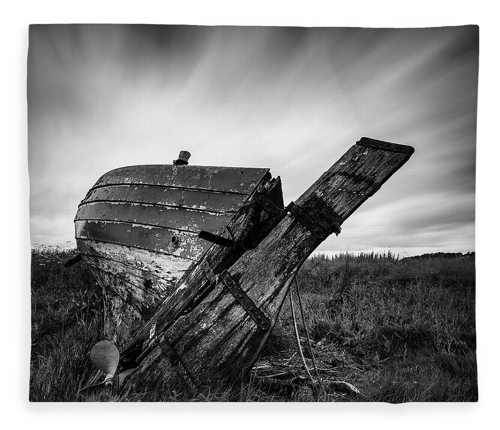 Fishing Boat Fleece Blanket featuring the photograph St Cyrus Wreck by Dave Bowman