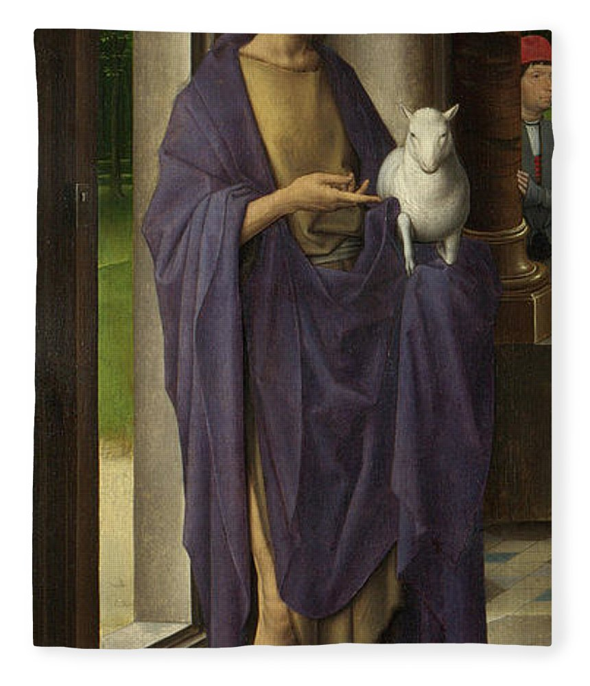 Memling Fleece Blanket featuring the painting St John The Baptist From The Donne Triptych by Hans Memling