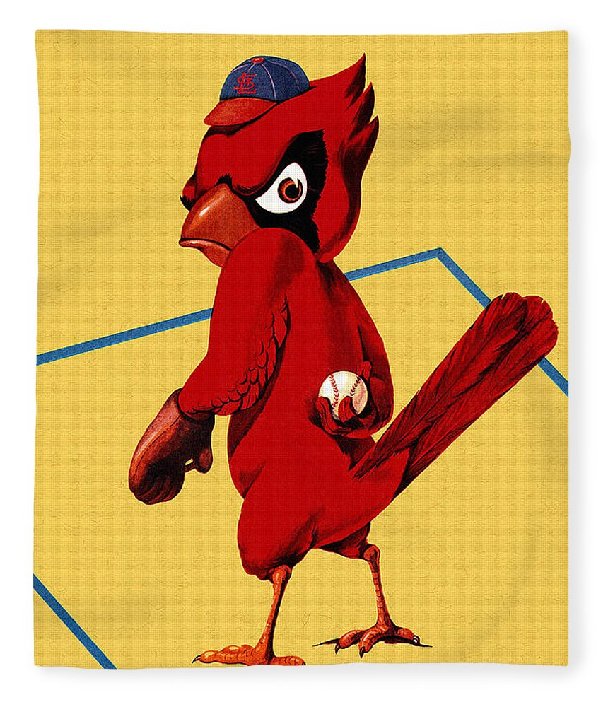 St. Louis Cardinals Fleece Blanket featuring the painting St. Louis Cardinals Vintage 1956 Program by Big 88 Artworks