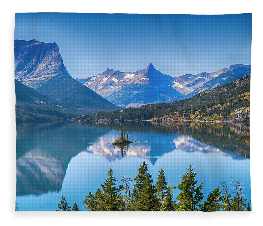 Lake Fleece Blanket featuring the photograph St Mary Lake by Bryan Spellman