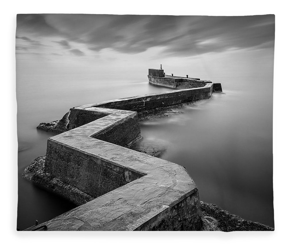 St Monans Fleece Blanket featuring the photograph St Monans Breakwater by Dave Bowman